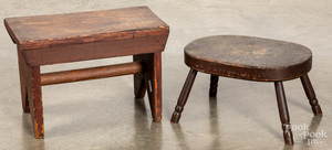Two pine footstools, 19th c.