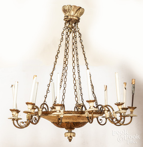 Carved and painted chandelier