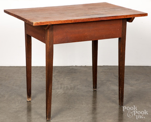 Stained mixed woods work table, 19th c.