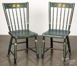 Pair of Pennsylvania painted plank seat chairs