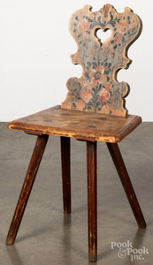 Moravian painted pine chair, 18th c.