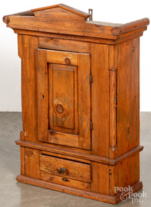 Continental pine hanging cupboard, ca. 1800
