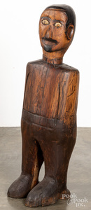 Large carved pine figure of a man