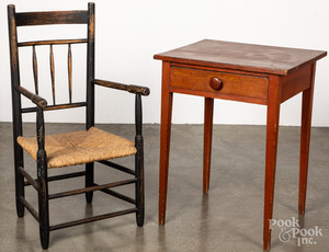 Stained pine one-drawer stand, 19th c.