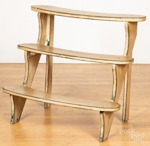 Painted tiered plant stand, 20th c.