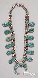 Navajo Indian squash blossom necklace