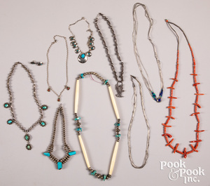 Nine Native American Indian necklaces