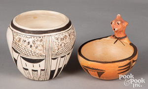 Two Hopi Indian Pueblo pottery pieces