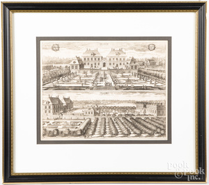 Three early birds-eye engravings of estates and g