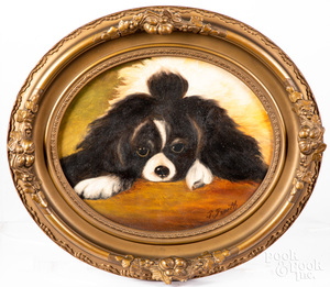 Oil on panel of a dog, 20th c., 10