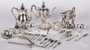 Silver creamer, sugar and nine spoons, 8.2 ozt.,