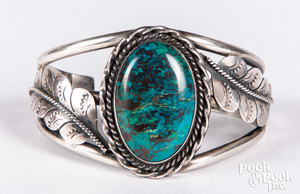 Navajo Indian turquoise bracelet, stamped JH with