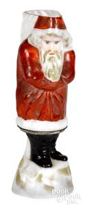 Figural milk glass Santa Claus miniature oil lamp