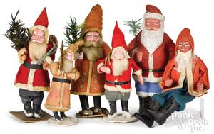Six composition Santa Claus figures