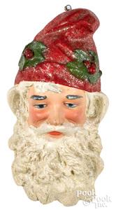 Diminutive plaster Santa Claus wall mask plaque