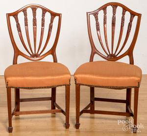 Six Hepplewhite shieldback dining chairs