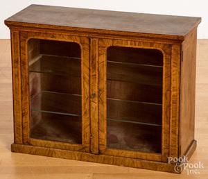Burl veneer hanging cabinet