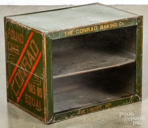 Conrad Baking Co., stenciled tin cake display case