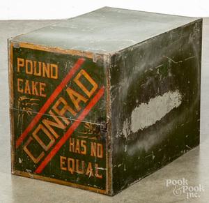 Conrad Baking Co., stenciled tin cake display case
