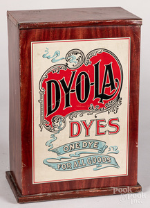 Dy-o-la Dyes counter top display cabinet