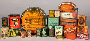 Large group of advertising tins