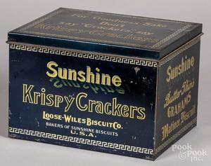 Sunshine Krispy Crackers advertising tin