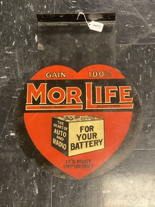 Morlife Battery enameled tin flange sign