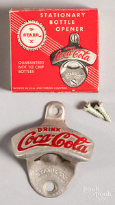 Coca-Cola tin and wire shopping cart bottle holder