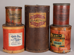 Five pressboard country store canisters and barrel
