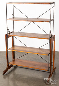 Oak industrial mechanical display shelf/table