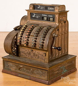 National brass cash register, with hand crank