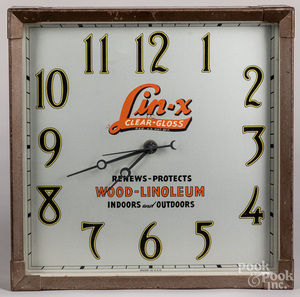 Lin-X Wood-Linoleum advertising clock