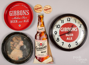 Group of Gibbons Beer advertising items