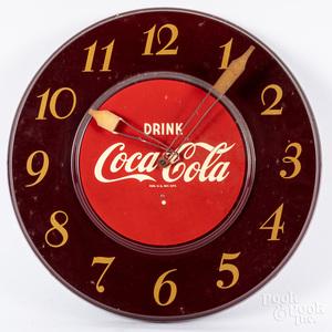 Telechrome Coca-Cola tin lithograph wall clock