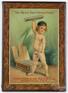 Frictionless Metal Co. tin advertising sign