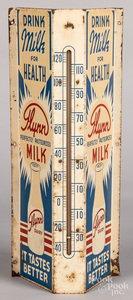 Flynn Dairy tin lithograph wall mount thermometer