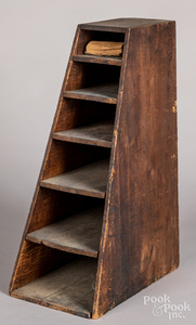 Pine country store bag holder, 19th c.