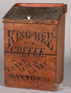 King Bee Coffee stenciled wooden bin
