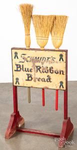 Schmidt's Blue Ribbon Bread embossed broom holder