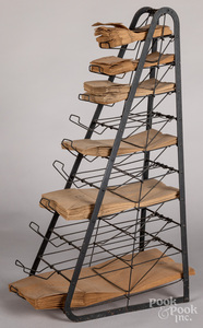 Country store wire and steel bag rack