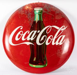 Large Coca-Cola tin lithograph button sign