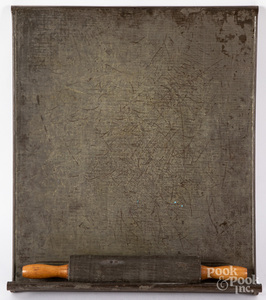 Tin wrapped rolling pin and cutting board, 19th c.