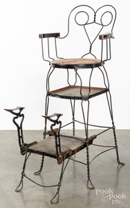 Steel and wire shoe shine chair, early 20th c.