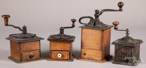Four coffee grinders