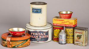 Group of advertising tins