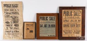 Four printed Pennsylvania auction broadsides