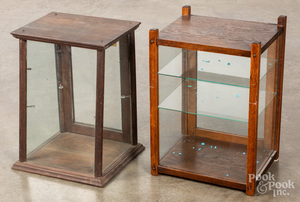 Two small oak counter top display cases