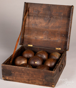 Early lawn bowling or bocce set