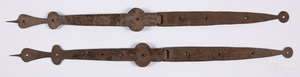 Pair of wrought iron strap hinges