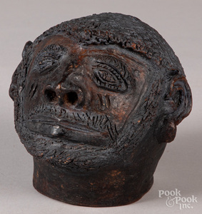 Redware head of a African American man